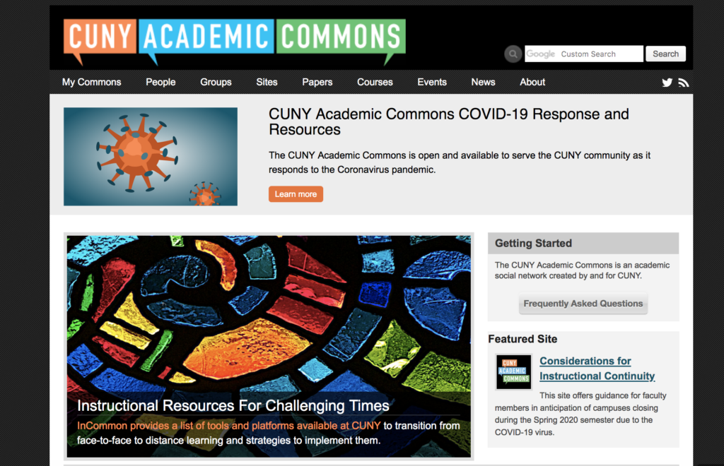 screenshot of commons home page